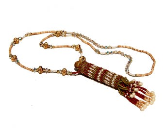 Beadwoven Necklace, Tribal Beadwork, Rattle Necklace, Vermeil Beaded, Shell Heishi, Gemstone Beaded,  Austrian Crystal, Rainstick Necklace