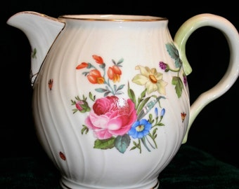 SALE:  Beautiful faience pitcher; Haas & Czjek; hand decorated milk jug; Austrian porcelain; vase; B-10