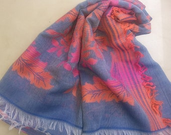 Indigo Textured All Over Floral Jacquard  Pattern Cotton Stole
