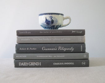 Decorative Book Set in Gray, Book Bundle, Stack of Books, Wedding Centerpiece, Books by Color, Shelf Decor, Gray Decor, Mantel Decoration