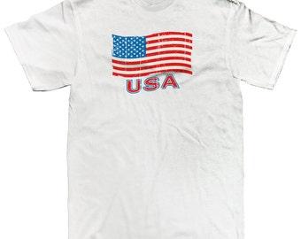 USA United States Of America Distressed Flag Patriotism Stars Stripes Men's T-shirt SF_0161