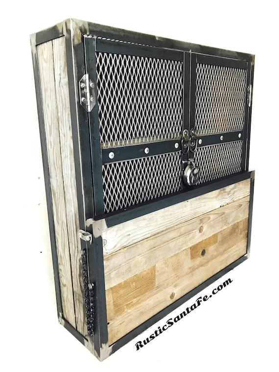Rustic Bar Cabinet Locking Liquor Storage Glass Holder