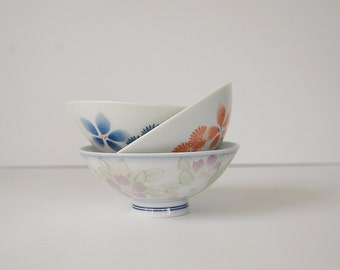 Vintage Rice Bowls, Oriental Bowls, Trio of Small White Floral Bowls