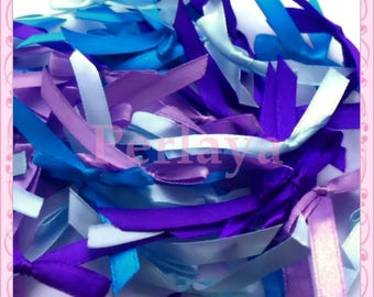 Mix of 50 blue and purple satin bows REF842