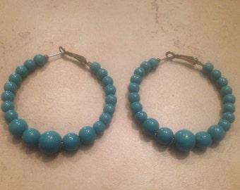 Blue Earrings Hoop Beads Costume Jewelry