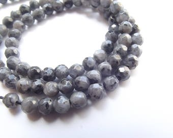 88 round beads natural larvikite faceted 4 mm STAR-223