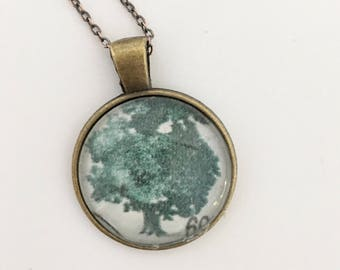 Tree Postage Stamp Glass Necklace