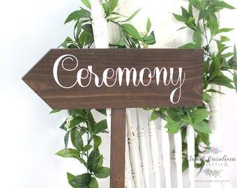 Wedding Ceremony Sign | Wedding Signs | Arrow Sign | Directional Sign | Wooden Wedding Sign | Wedding Decor - WS-48