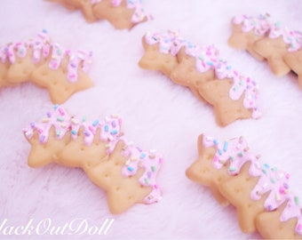 Cookie Biscuit Lolita Decora Kawaii Fairy Kei Dipped Chocolate Sweets Hair Clips