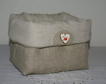 Fabric basket Organizer quilted linen and heart digouen