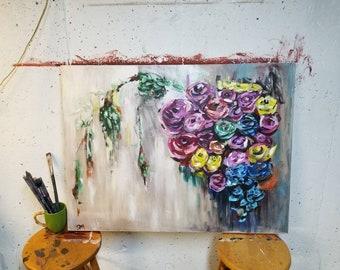 "Spring Flowers 30""x40"" Acrylic on Canvas"