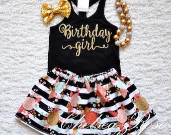 Birthday Girl shirt, Personalized Birthday shirt, Girls Birthday outfit, Baby First Birthday, black gold Birthday, 2nd birthday floral skirt