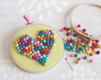DIY Felt Balls Heart Kit - Hoop Art Kit - Mini felt balls Kit - Wall Decor Hoop- Embroidery Hoop Art- Colorful Felt Heart - DIY Hoop Art Kit