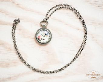 Clock necklace, vintage clock necklace, clock pendant necklace, Clock Jewelry, Antique Clock Pendant, antique brass pendant