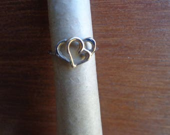 Two tone heart ring ( 10k )