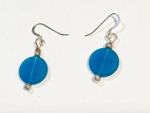 SJC10245 - Round blue sea glass earrings with silver-plated ear wires