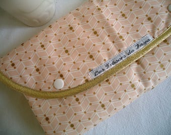 Changing pad Nomad graphic baby girl, Pink salmon and gold, hand made in France / baby girl gift