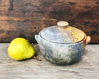 Wood Fired Lidded Jar, Sugar Jar, Stoneware Canisters, Covered Jar, Kitchen Jar Gift, Ceramic Jar with Lid, Pottery Jar, Rustic Pottery Jar