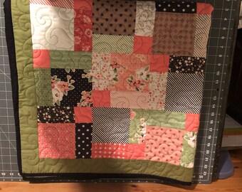 Baby Blanket, Quilt, Handmade, crib, shower gift, flowers, poke dots, girl