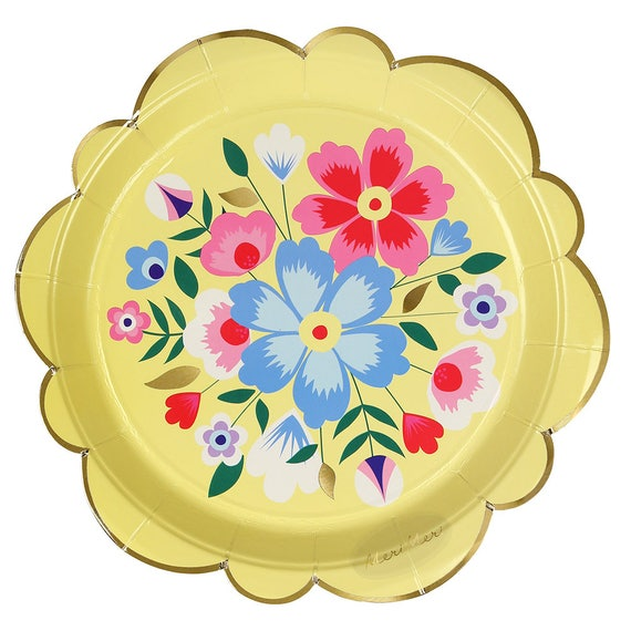 Floral Paper Plates -Large | Bridal Tea Party Plates Garden Party Bridal Shower Bridal Fiesta Birthday Mexican Fiesta Floral Tableware  sc 1 st  Etsy & Floral Paper Plates Large Bridal Tea Party Plates Garden