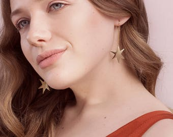 Asymmetrical Star Earrings - Brass Jewelry - 80s Earrings - Jem Earrings (SD1321)