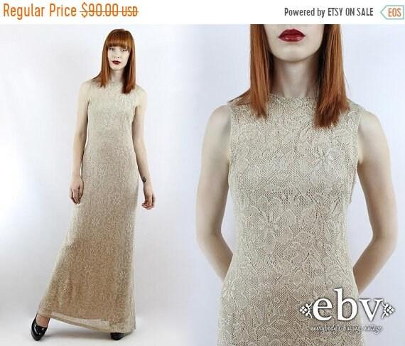 Vintage 90s Taupe Crochet Lace Maxi Dress XS S Lace Wedding