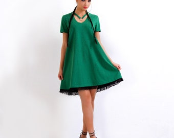 Green Dress/ Summer Dress/ Cotton Dress/ Casual Dress/ Short Sleeve Dress/ Midi Dress/ Party Dress/ Loose Dress/ Women Dress/ FriendsFashion