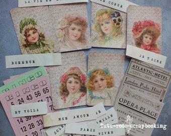 Pack 34 embellishments ATC junk journal card shabby chic ephemera vintage french Word scrapbooking cardmaking dyed handmade paper