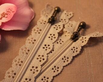 Zip up beige lace not separable 20 cm x 1