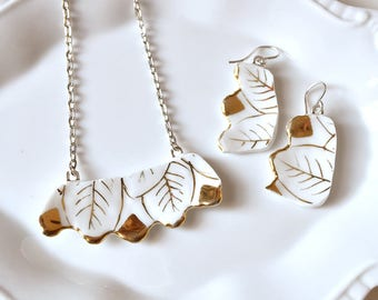 Broken China Jewelry Pendant and Earring Set- Gold and White Teacup