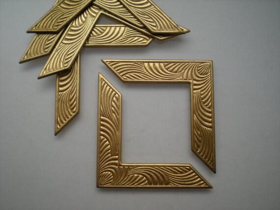6 brass art deco corner brackets No. 1
