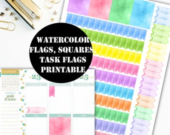 Watercolor Task Flags, Flags & Squares Printable Planner Stickers / Erin Condren Printable / Plum Paper Planner /  Sticker Printable 00031