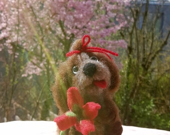 Needle felted wool handmade dog red flower
