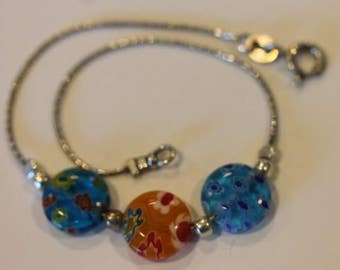Sterling silver millifiori glass bead chain link bracelet 7 1/2""