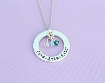 Personalized Mother's Necklace with Birthstones - Engraved Jewelry - Custom Engraving  - Aquamarine