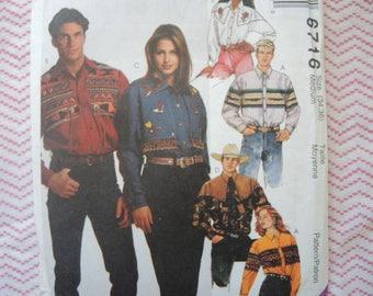 vintage 1990s McCalls sewing pattern 6716 Men's western shirt  UNCUT size 34-36