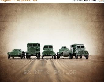 FLASH SALE til MIDNIGHT Vintage Matchbox Army Truck lineup, Photo Print, Boys Room decor, Boys Nursery Prints, Army Room Decor