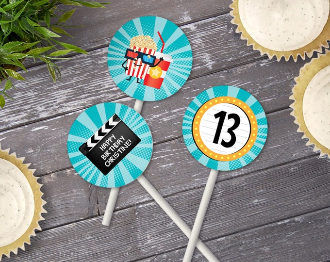 Movie Party Cupcake Toppers - Movie Night Birthday, Circle Toppers | Editable Text - Instant Download PDF Printable