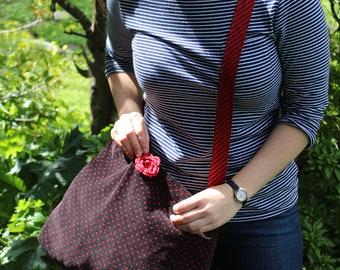 OOAK Polka Dot Corduroy Crossbody Bag