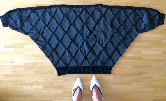 Vintage 1980s Black Leather Patchwork Diamond Knit Batwing Sweater/ Crochet Leather XqbQGMA7M