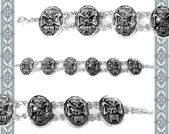 Bracelet Nordic skull silvered skull Pirate jewelry Gothic arm jewellery Haraldischer Jewelry Bikerschmuck