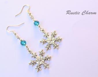 Personalized Birthstone Crystal Snowflake Dangle Earrings