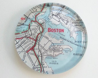 Vintage Map Paperweight - choose your Region- great guy gift / office gift - custom personalized gift