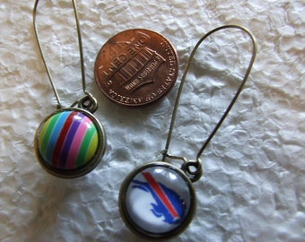 Buffalo Bills  Fan  Two sided Reversible  Earrings Bling and Buffalove  Dark rainbow