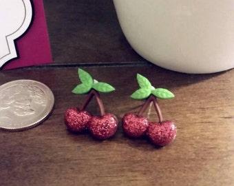 Vibrant Cheery Cherries Stud Earrings