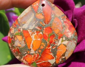 1 single 40 X 40 X 7 mm AF75 multicolor Orange Jasper bead pendant