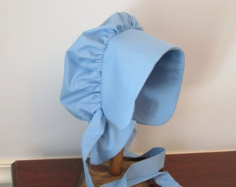 Girls Blue Prairie Bonnet/ Pioneer Bonnet - ABBY-  Fits All 5 to 14 - Ready to Ship