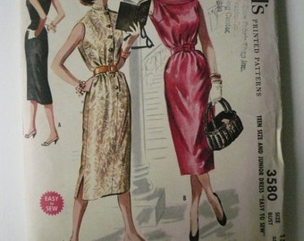 Vintage McCall's Pattern 3580  Junior Size 15 Sheath Dress  Factory Fold