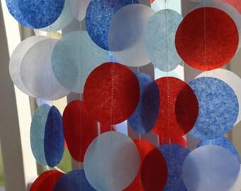 Tissue Paper Garland, Party Garland, Birthday Garland, Paper Garland, Nautical Garland, Circus Garland:  Nautical
