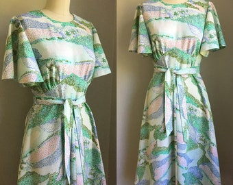 Vintage 1970's Micro Mosaic Print Flutter Sleeve Dress Size Small